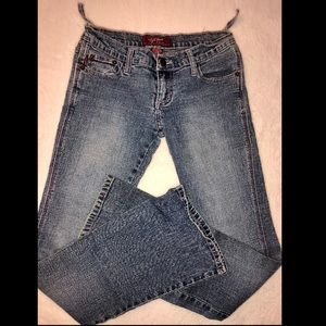 BOGO 50% OFF! Blue jeans with pink threading!👖